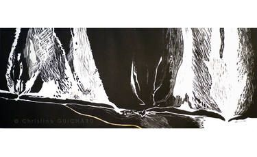 "Saatchi Art Artist Christine GUICHARD; Printmaking, """"go up in smoke""-art Linocut Black and white with gold-landscape-estampe-gravure"