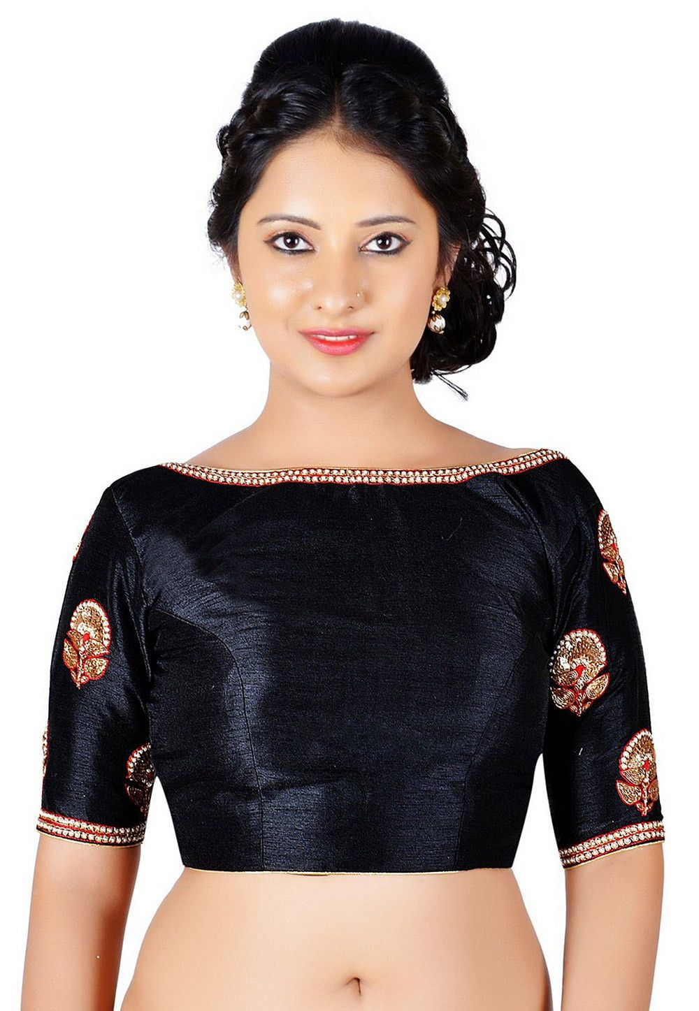 01f80cde076ce Art Dupion Silk Padded Blouse in Black This Readymade piece is Enhanced  with Dangles