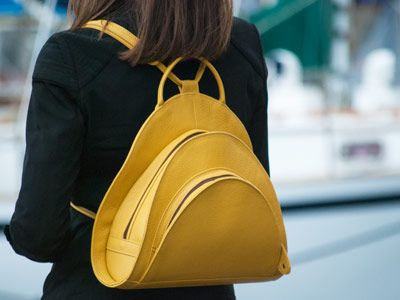 The revival of the leather spiral rucksack, a classic to our range, is a great colour for this season..