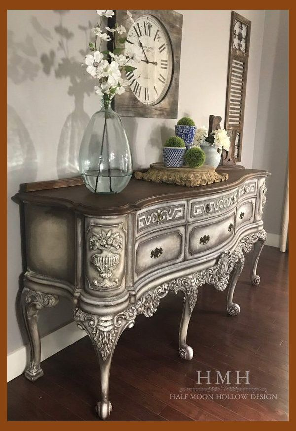 Photo of RARE Creamy Antique White French Country Sideboard Farmhouse Credenza Shabby Chi…