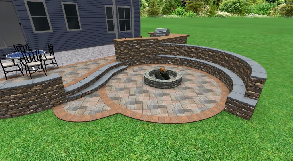 Patio design with sunken fire pit sitting wall with backrest and