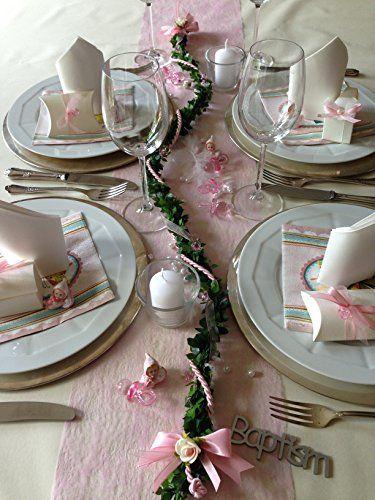 Centerpiece Pacifier Garland Pink Baby Christening Baptism Shower Communion Confirmation Table Decoration Treasured Memory Http Www Amazon Com Dp B00l6c Fiesta