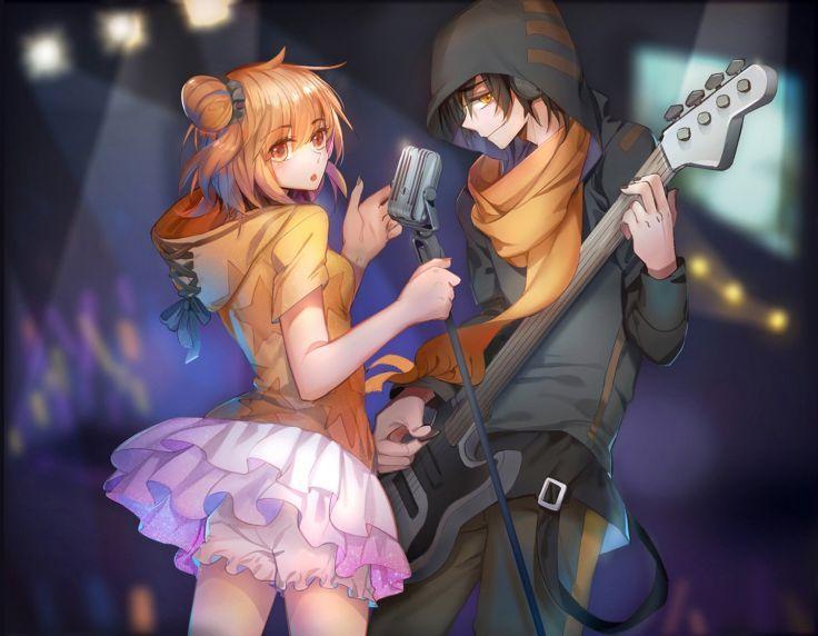 Music Anime Couple Guitar Girl Boy Singer