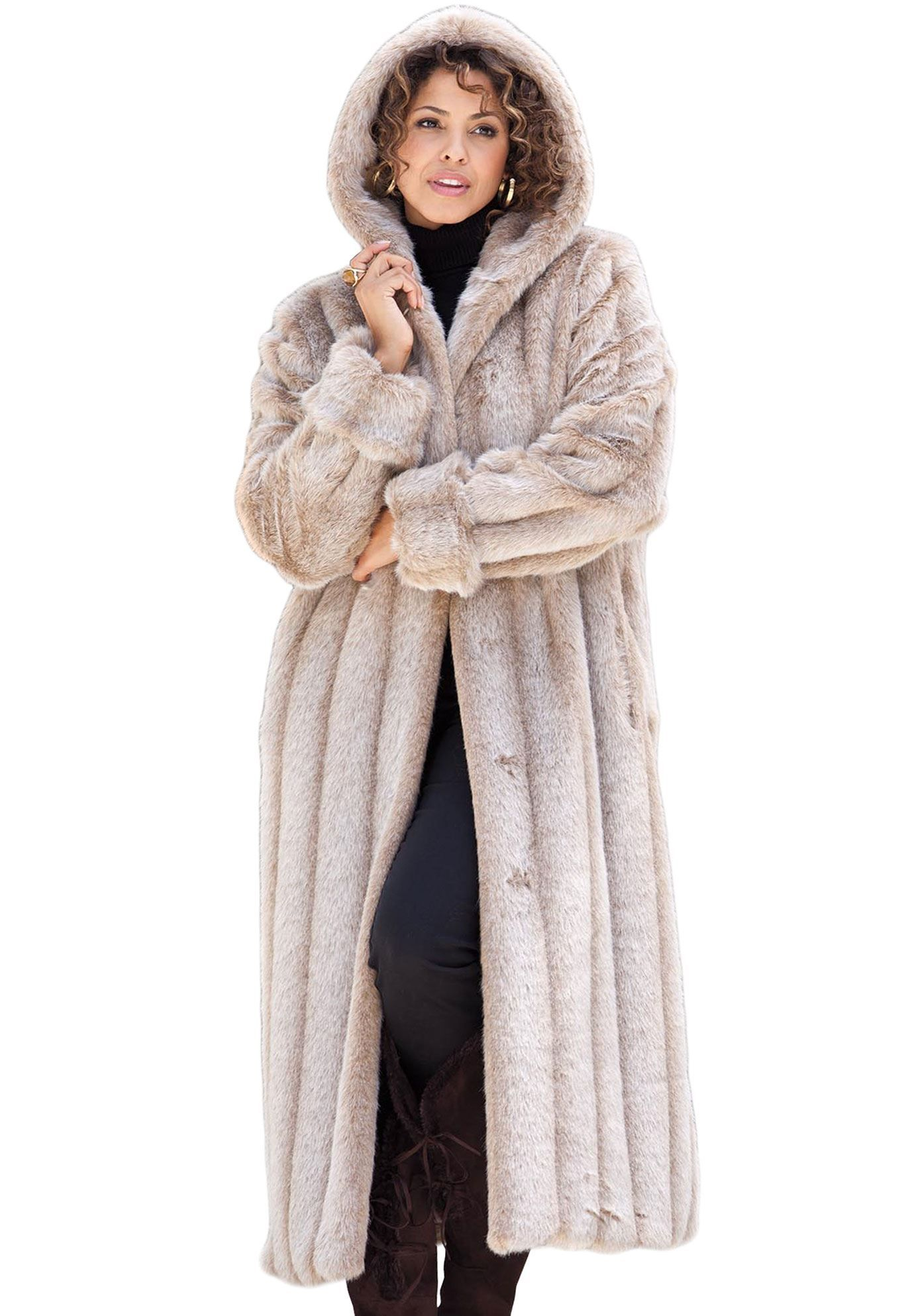 Women Fur Collar Woolen Parka Warm Casual Full Length Faux Mink Fur Long Coat