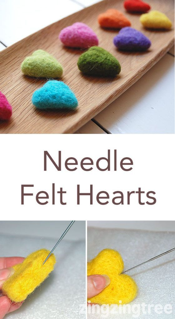 How To Make Cute And Colourful Needle Felt Hearts Felt Hearts Diy Felt Crafts Diy Needle Felting Projects