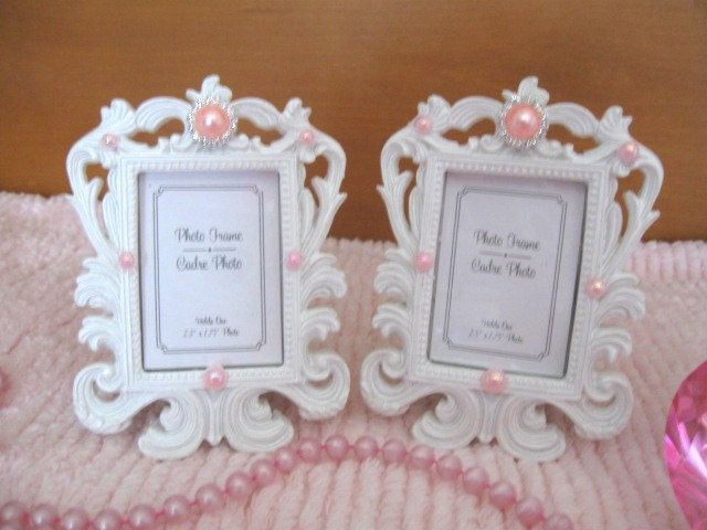 Set 2 Chic White VERY Ornate Small Photo Frames Pink & White Pearls ...