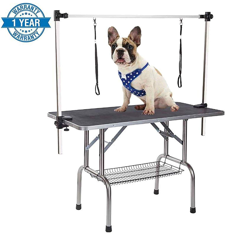 Gelinzon Grooming Table Pet Dog Cat Foldable Portable Adjustable