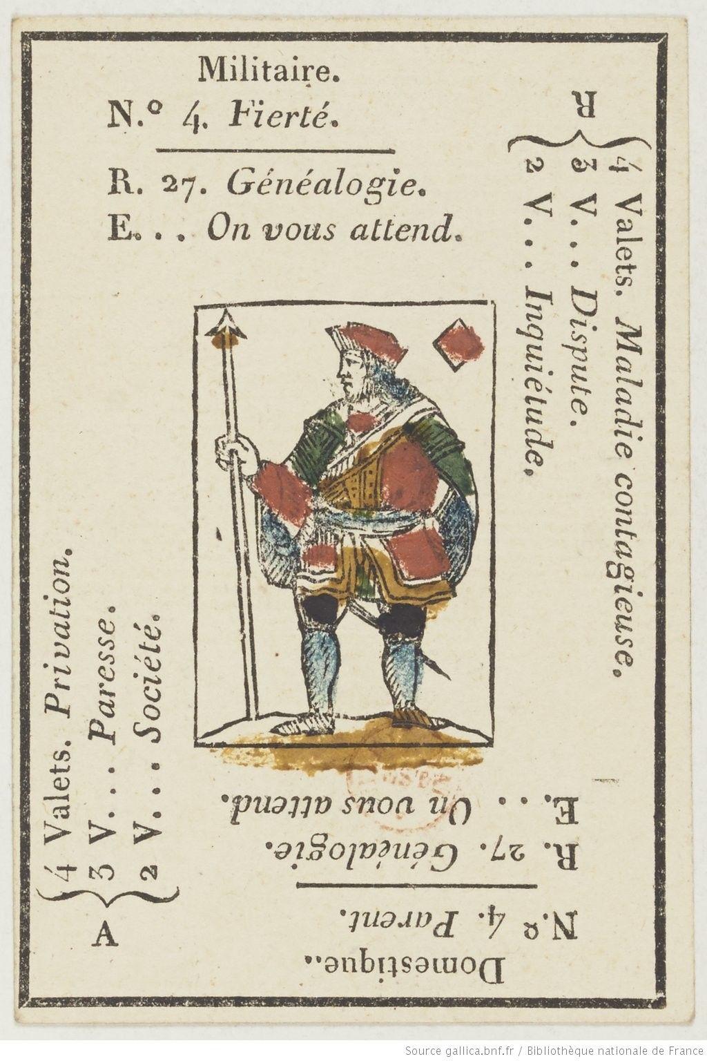 Jeu De Cartomancie Dit Petit Etteilla Jeu Divinatoire Jeu De Cartes Estampe Gallica Jeu De Cartes Cartomancie Carte A Jouer