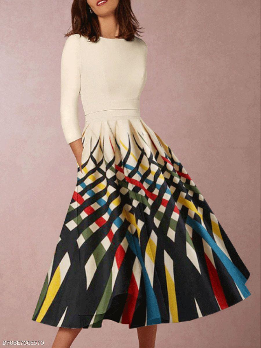 Round Neck Patch Pocket Printed Skater Dress Spring Dresses Women