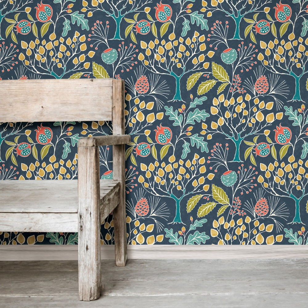 Wallpops Contemporary Botanical Groovy Garden Navy Gray Peel Stick Wallpaper Ebay Peel And Stick Wallpaper Nuwallpaper Wallpaper
