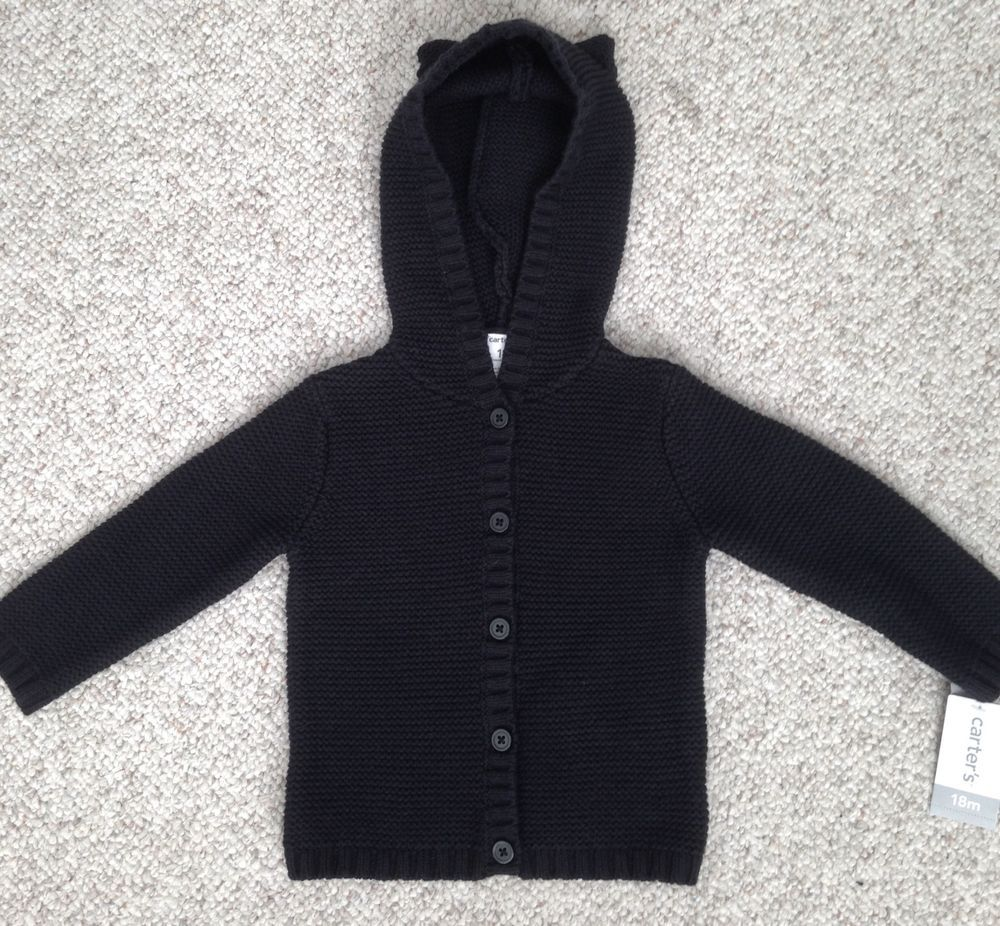 5b78a3584 NEW 30 Baby Toddler Girl 18 Month CARTERS BUTTON FRONT HOODED EARS ...