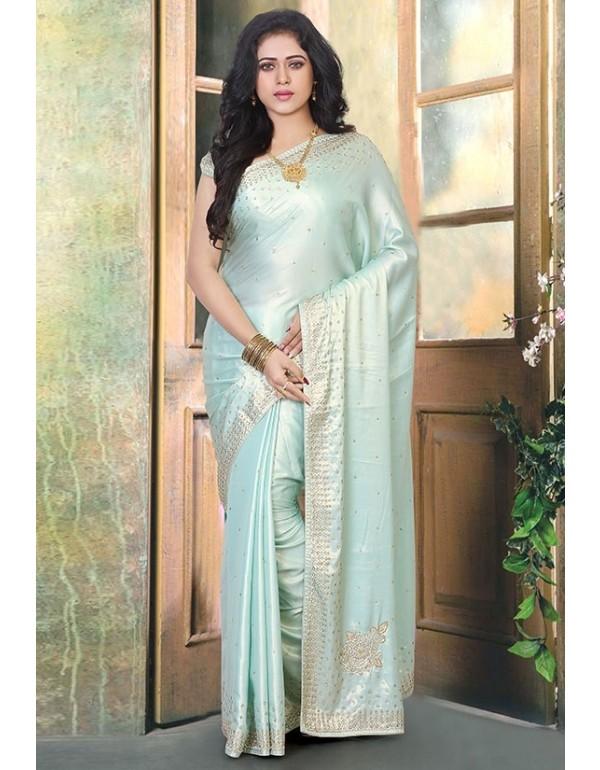 Sea Green Silk Handwork Saree | Wedding sarees online, Saree