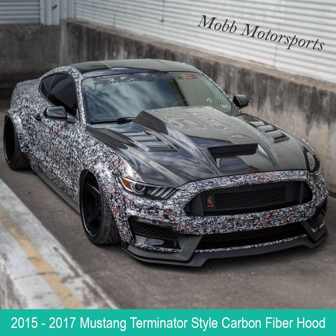 2015 2017 Ford Mustang Terminator Style Carbon Fiber Hood Vis