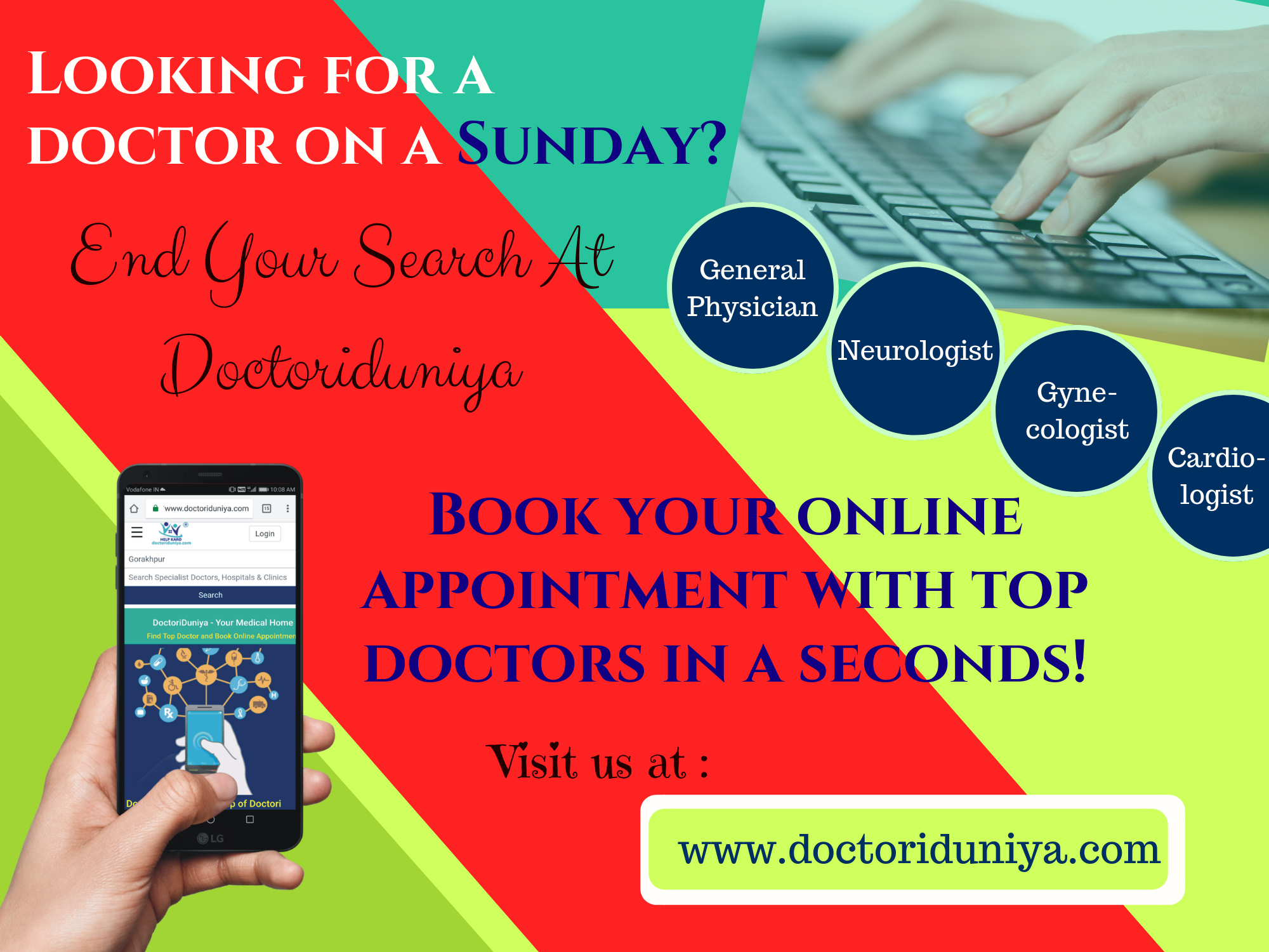 Looking for a doctor on Sunday? Visit at DoctoriDuniya to