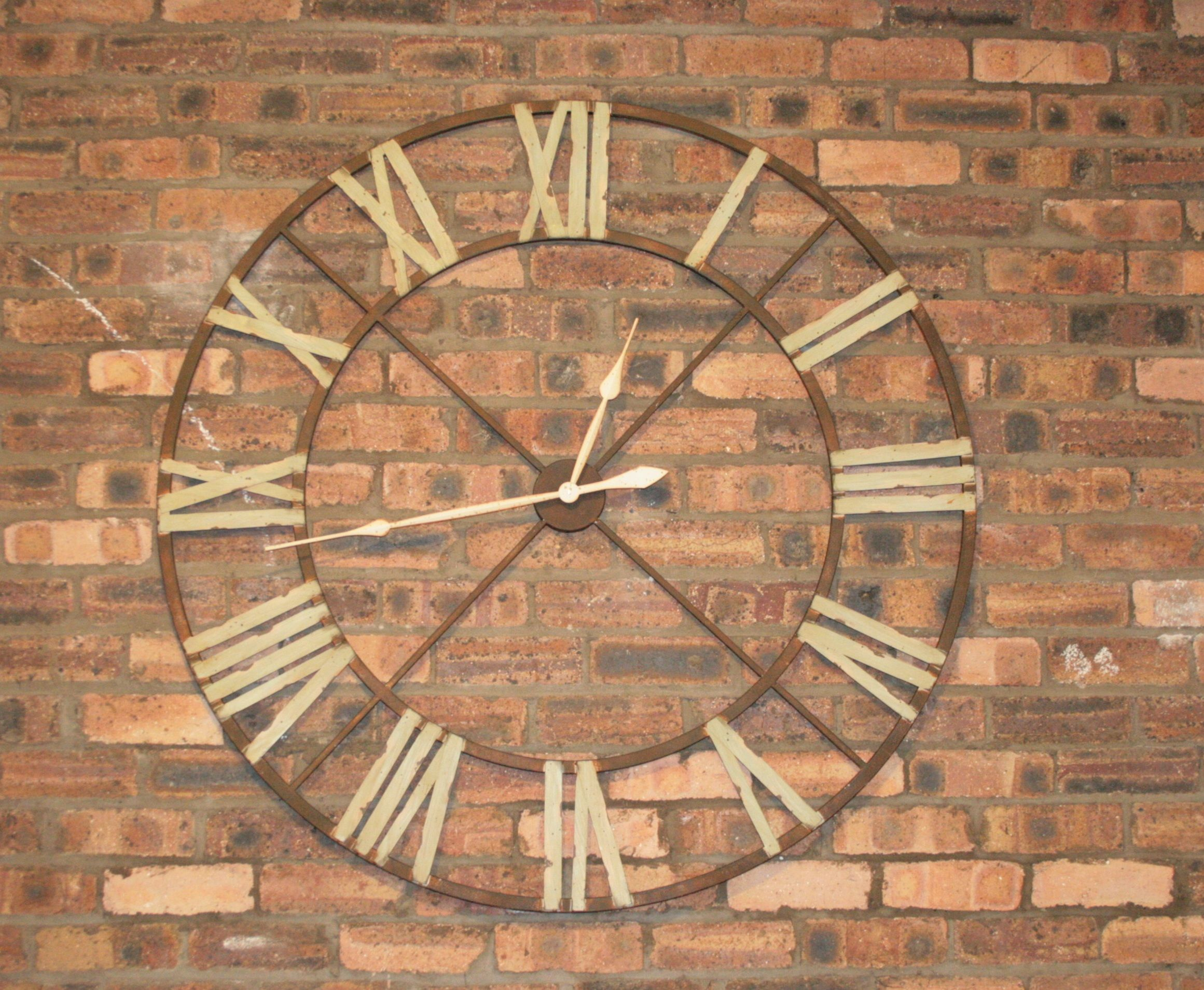 Large Iron Wall Clock With Roman Numerals Oversized Wall Clock Large Wall Clock Decor Large Rustic Wall Clock
