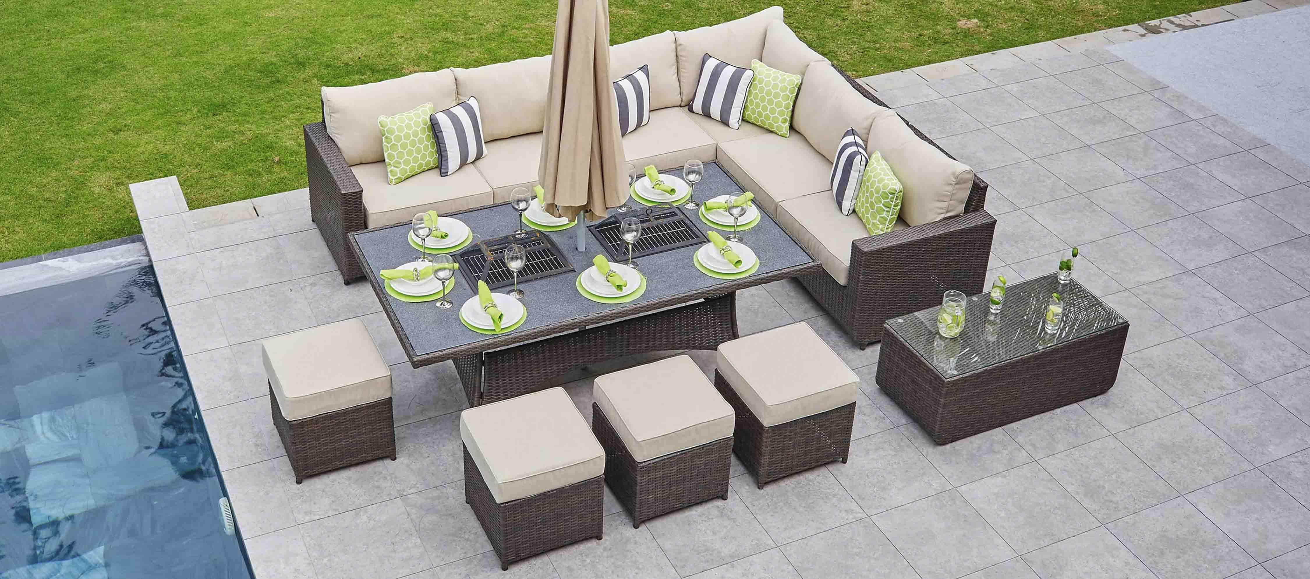 Halo 2j Extended Corner Sofa Combo With Charcoal Fire Pit Dining Table Footstools Sofa Dining Combos Wi Gas Firepit Fire Pit Table Outdoor Furniture Sets