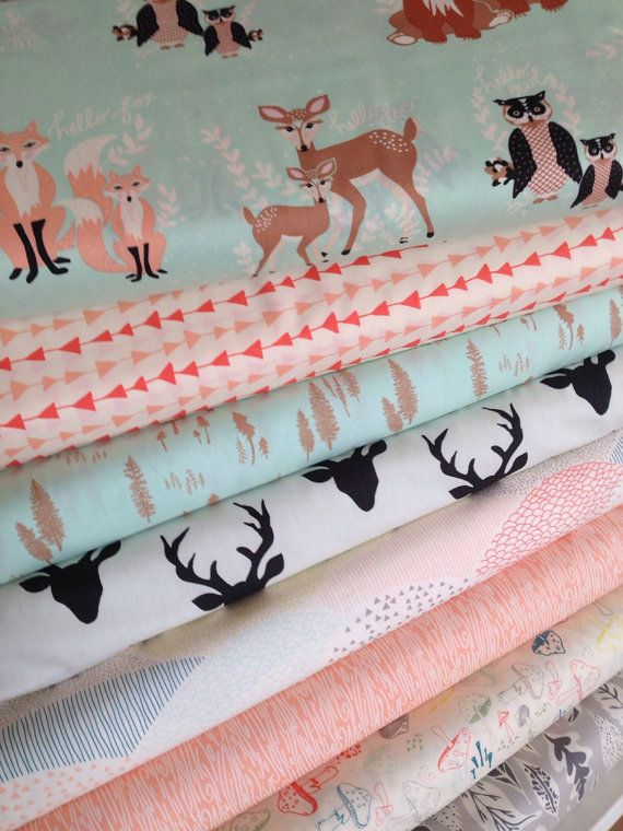 Hola oso paquete de tela por Bonnie Christine, tela de ciervos, arte Galería telas tela paquete de 8, elegir los cortes, disponible envío gratis