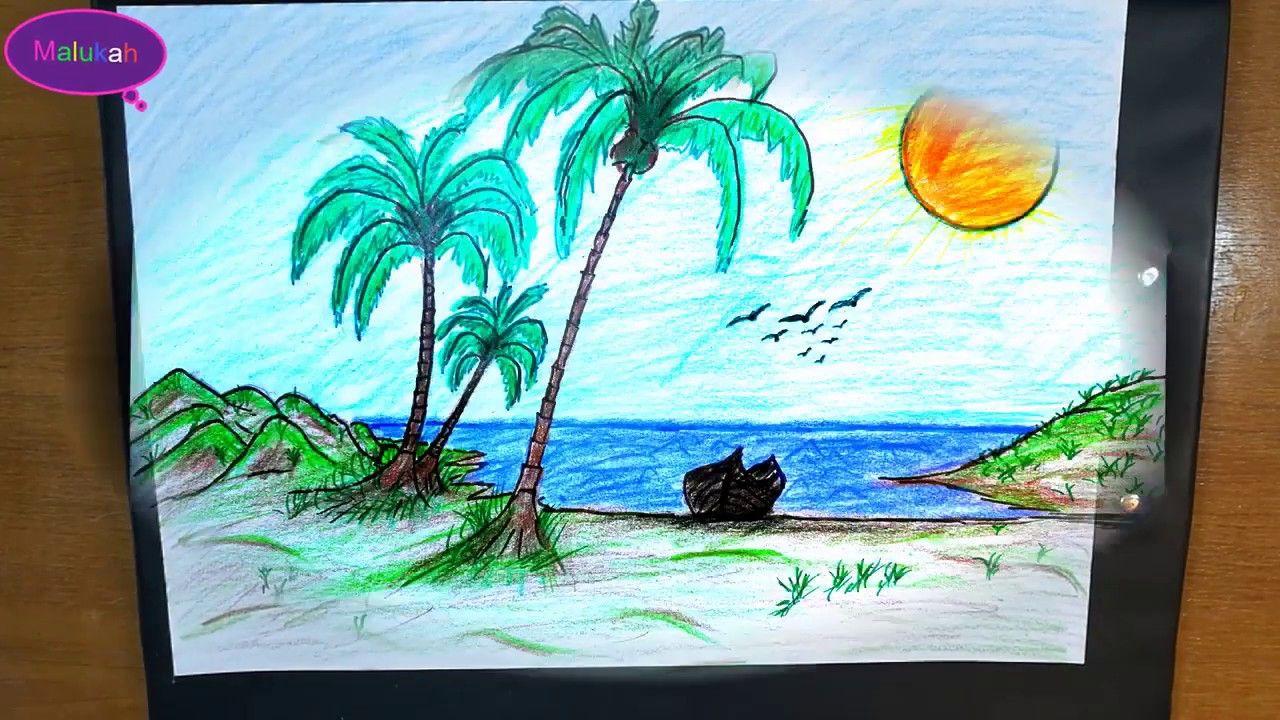 رسم منظر طبيعي لشاطئ البحر Landscape Drawing Of The Seashore Moose Art Art Animals