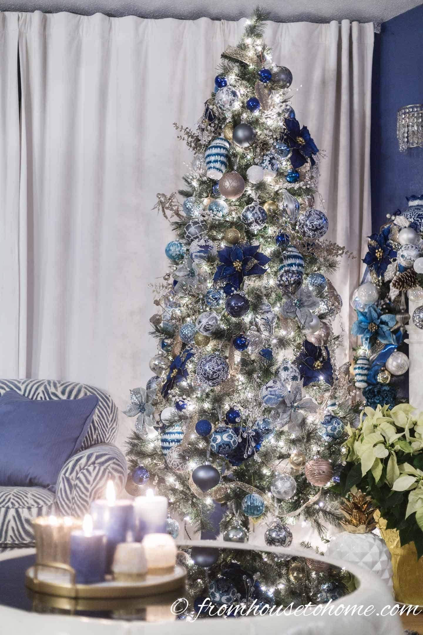 Beautiful Blue And White Christmas Home Decorating Ideas Plus 18 Other Bloggers Christmas Home Tours White Christmas Decor Glam Christmas Tree Blue Christmas Decor