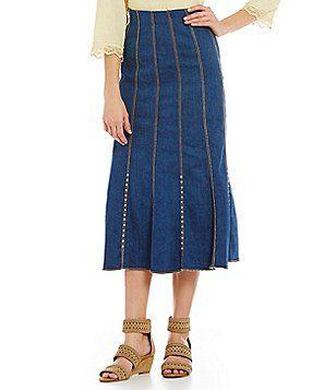 713f32ecf Reba New Horizons Stud Denim Skirt | Rebastyle | Studded denim ...