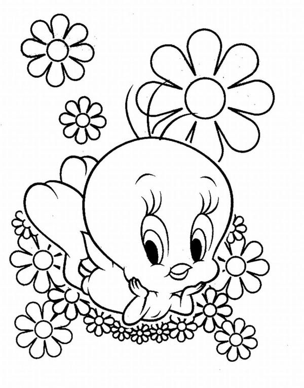 baby tweety and flowers in baby looney tunes coloring page kids - Baby Looney Tunes Coloring Pages