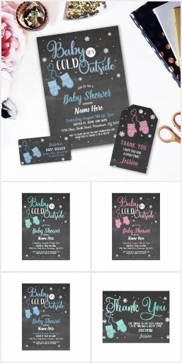 Baby Its Cold Outside Baby Shower Collection Black Chalkboard