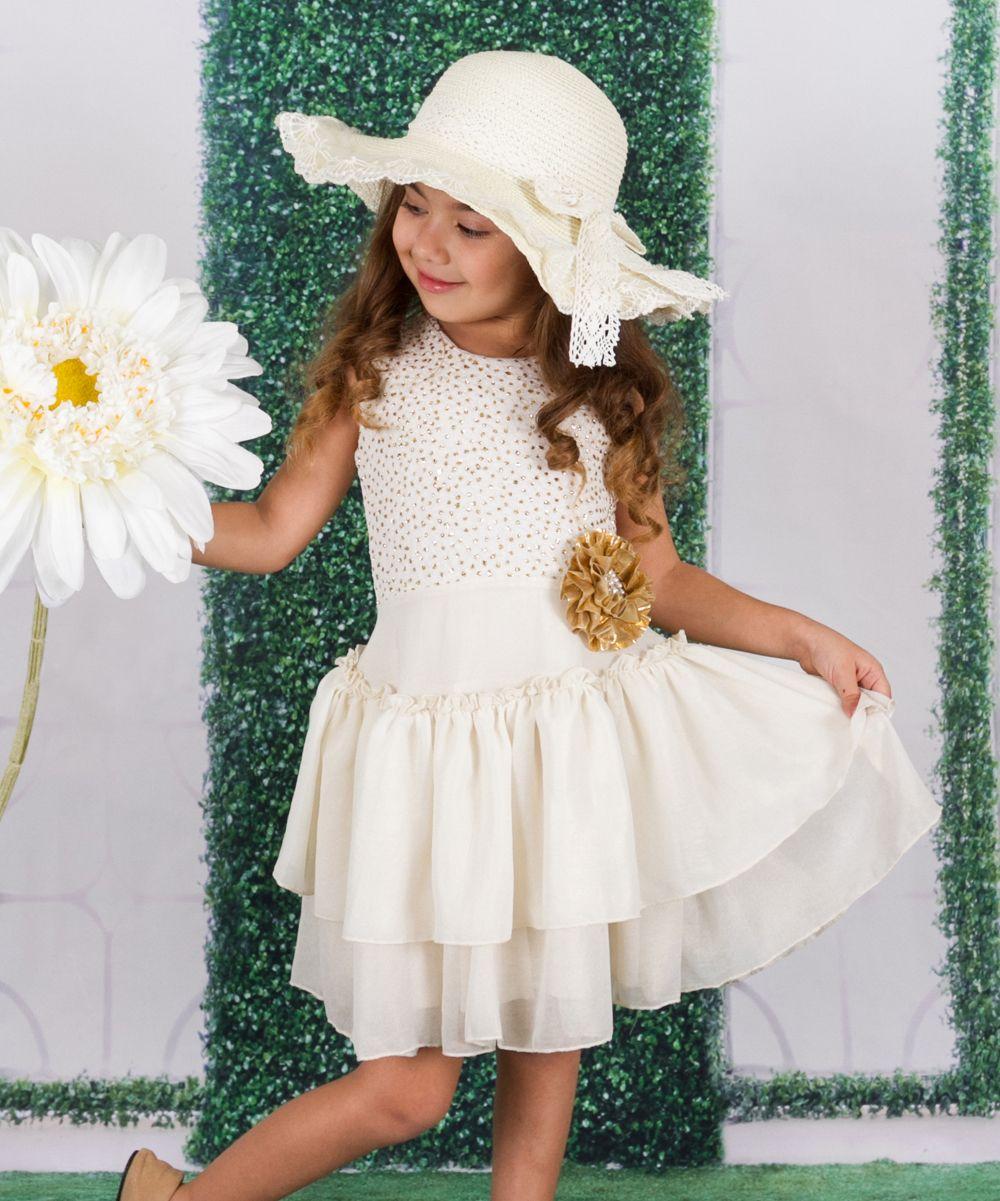 Creme u gold ruffletier dress toddler u girls products