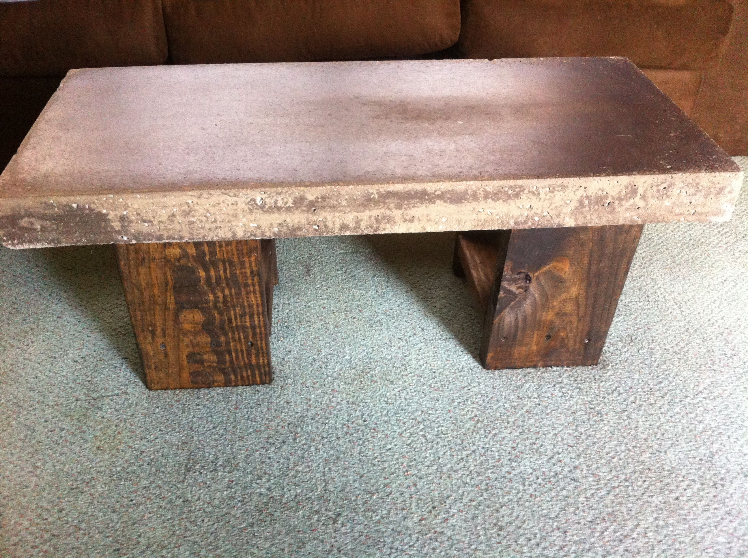 Concrete coffee table with Rocky Mountain colored acid stain