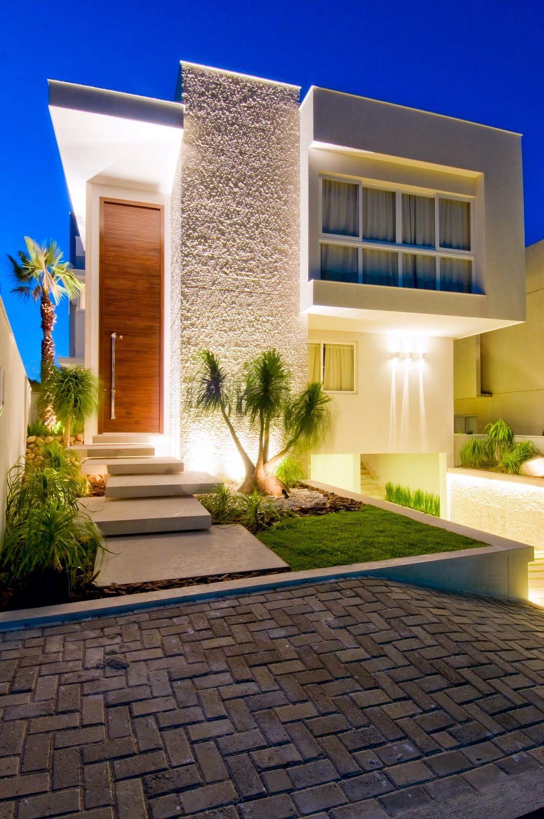 20 fachadas de casas modernas com linhas retas veja - Losetas para fachadas ...