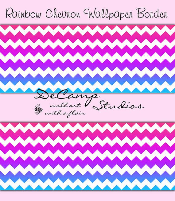 Rainbow Chevron Wallpaper Border Wall Decals For Teen Girls Bedroom Or Any  Home Decorating Ideas #