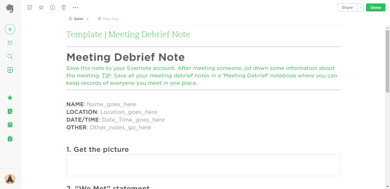 how to create a template in evernote - meeting debrief evernote templates process street