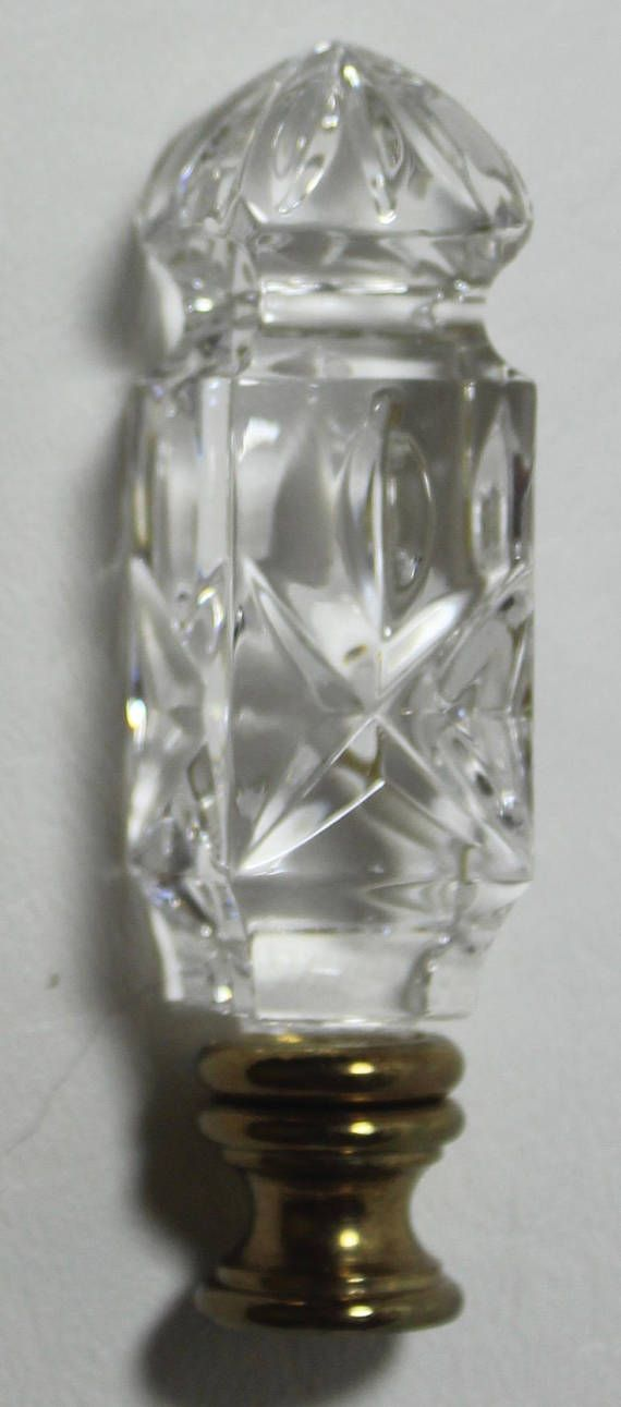 Waterford Crystal Square Lamp Finial Signed Retired Free Lamp