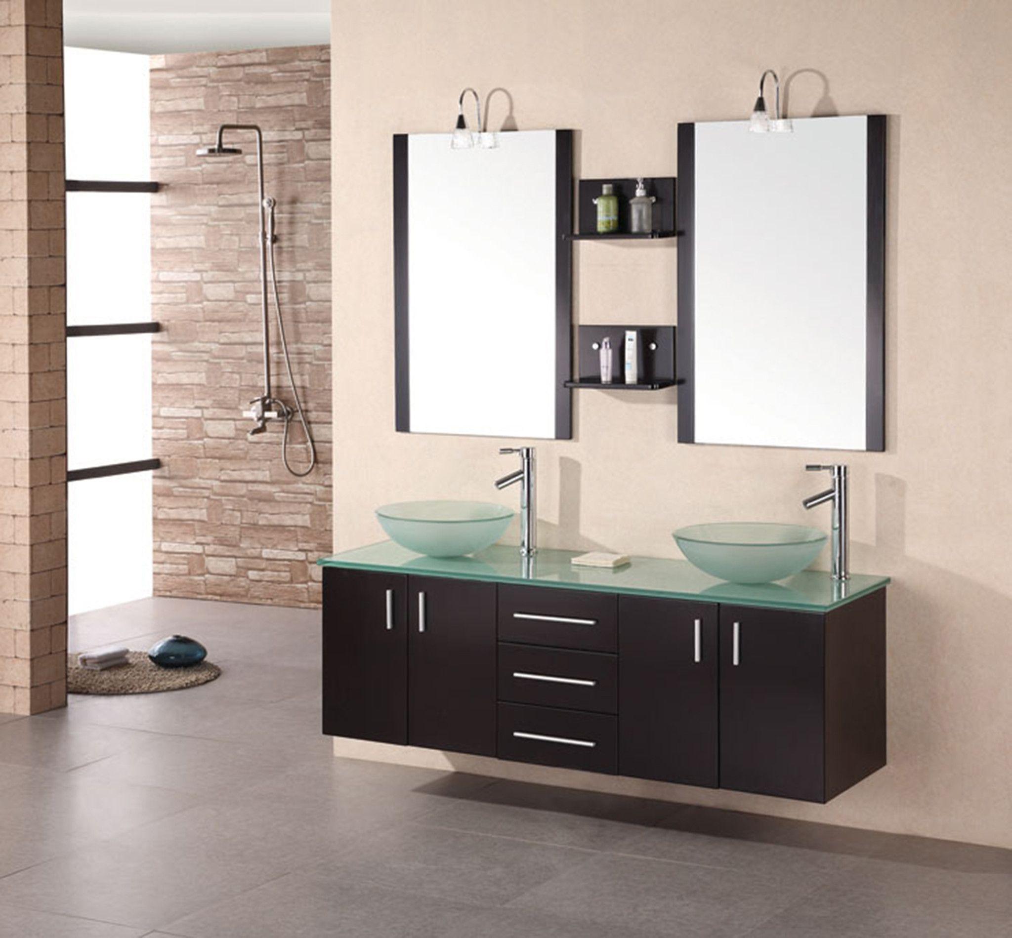 "Portland 61"" Double Vessel Sink - Wall Mount Vanity Set in Espresso w/ Jade Glass Countertop & Sinks"