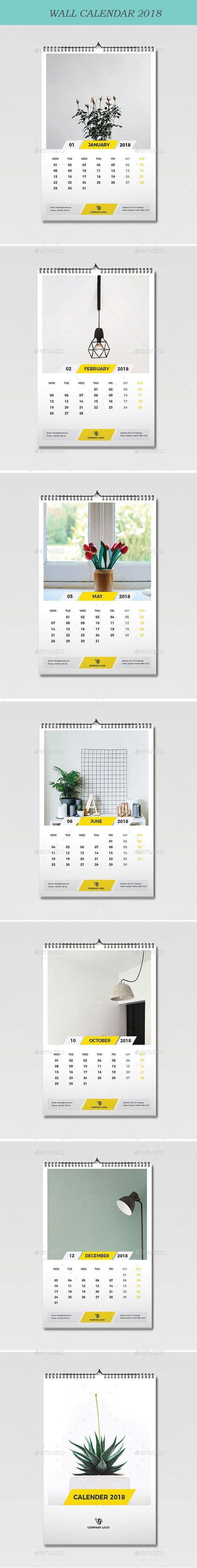 Wall Calendar 2018 Template Vector Eps Ai Illustrator Calendar