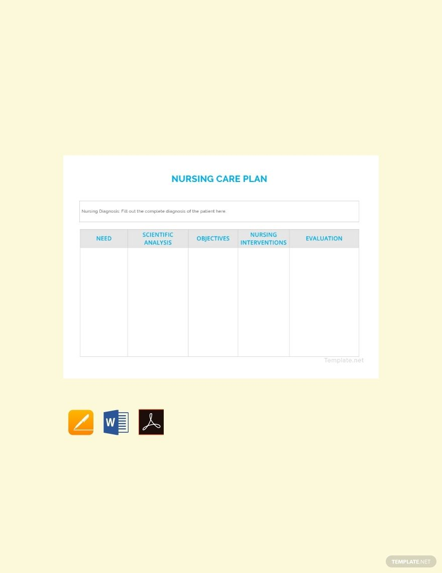 blank nursing care plan template free pdf  word  apple