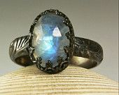 Blue Moonstone Ring, Sterling Silver, Natural Stone, Vintage Inspired-made to order. $49.00, via Etsy.