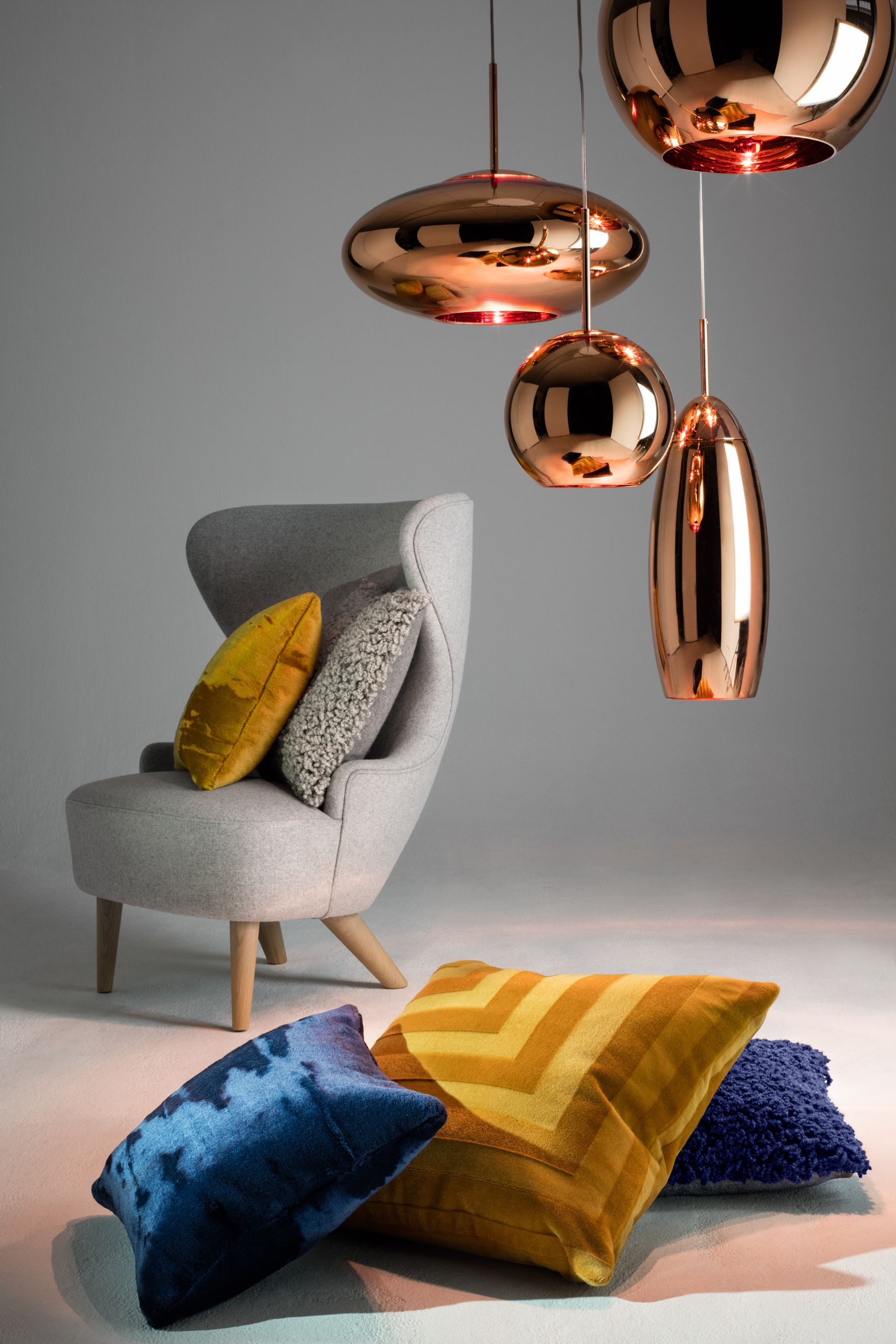 Copper Round Pendant And Wingback Micro Chair 15 Off All Tom Dixon Lighting Furniture And Accessories Now Thru Octo Tom Dixon Lighting Tom Dixon Home Decor