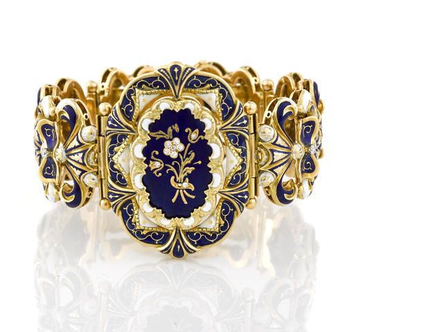 An enamel and diamond bracelet,