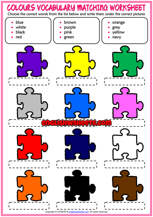 Colours Vocabulary Matching Exercise Esl Worksheet Color Worksheets For Preschool Vocabulary Worksheets English Worksheets For Kids