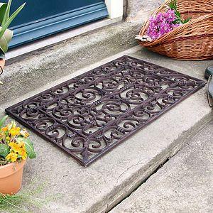 Traditional Rectangular Outdoor Cast Iron Doormat Rugs Doormats