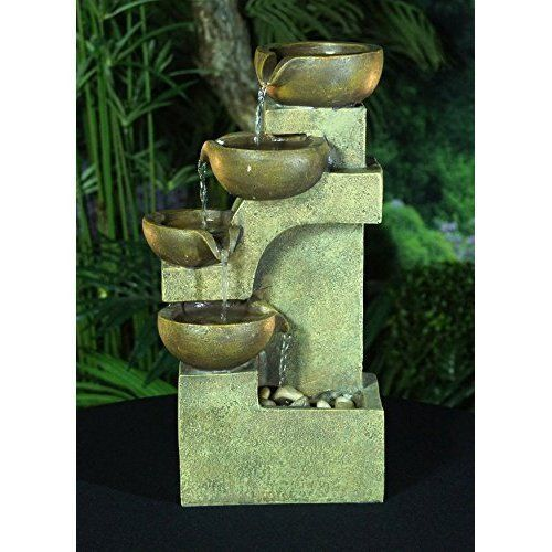 Indoor Water Fountain Kit 4 Tier Tabletop Waterfall Pump Home
