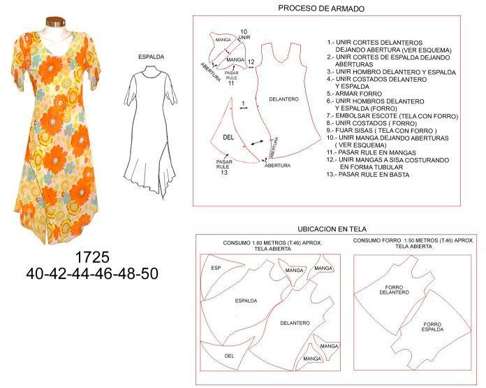 f2fc708d7 1725 Vestido Asimetrico con Manga Tipo Mariposa , Tallas: 38-40-42 ...