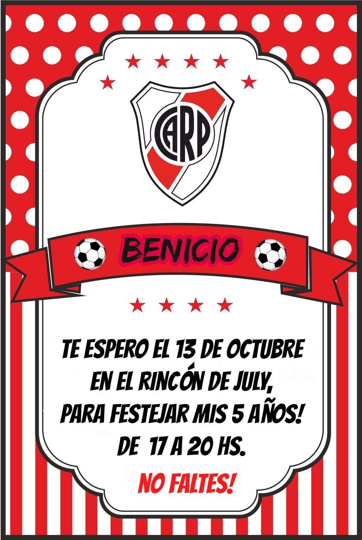 Benicio Tarjetas De Cumpleaños Futbol Tarjetas De