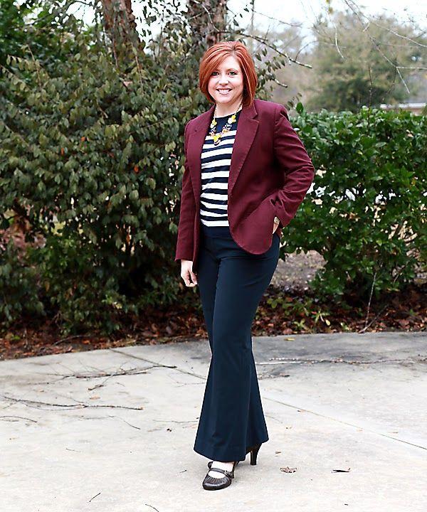 Savvy Southern Chic: Stripes & Burgundy Blazer