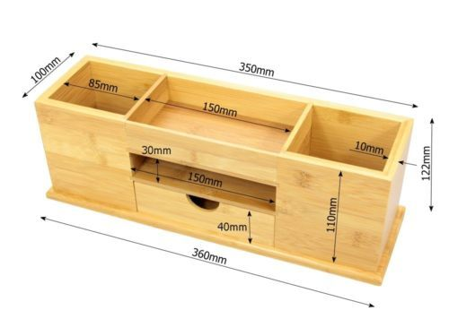 Desk Tidy With Drawer Wide Stationery Organiser Natural Bamboo Wood Office Supplies Diy Woodworking Projects Diy Wooden Desk Organizer