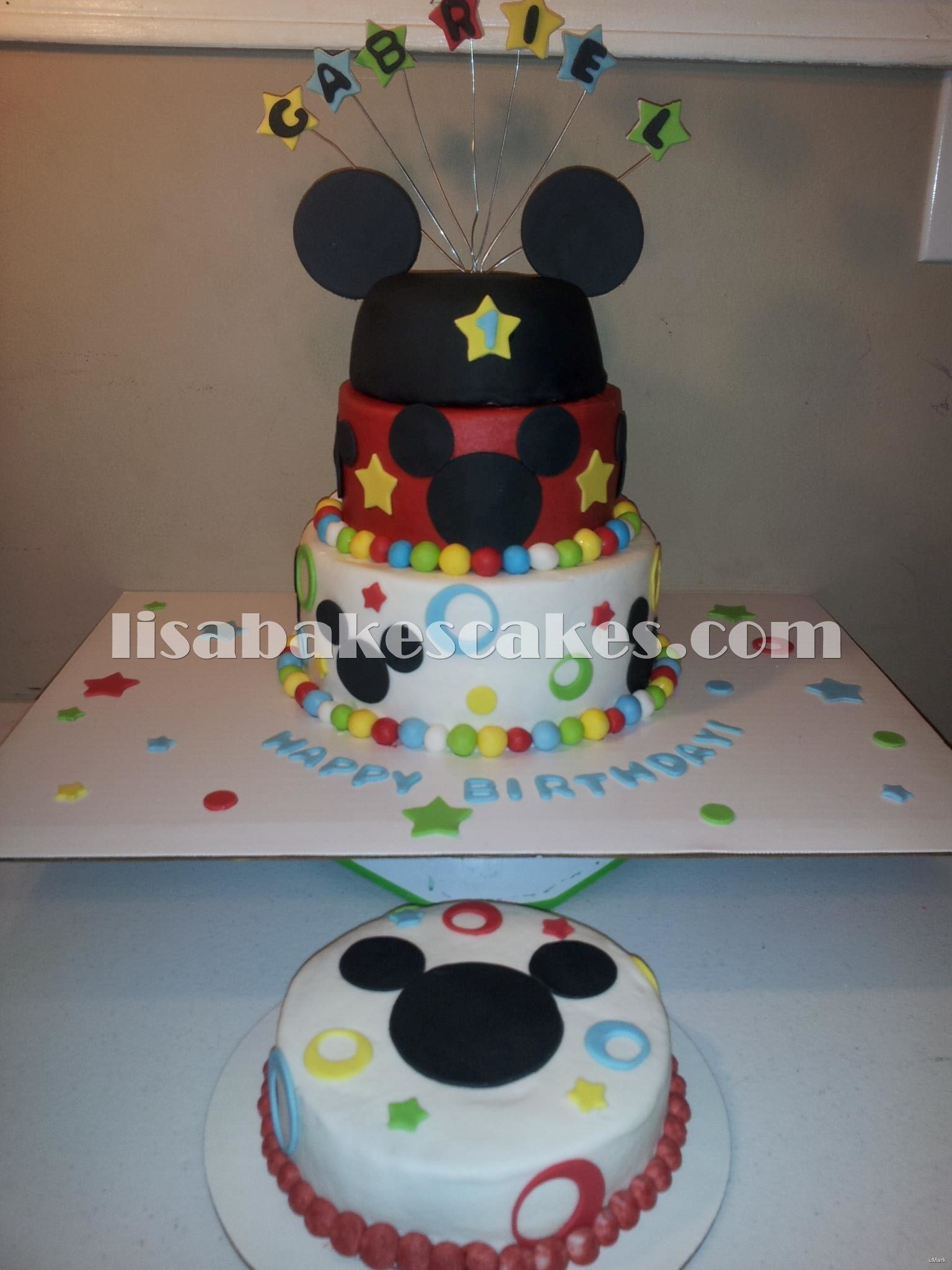 Mickey Mouse inspired cake and smash $85.00