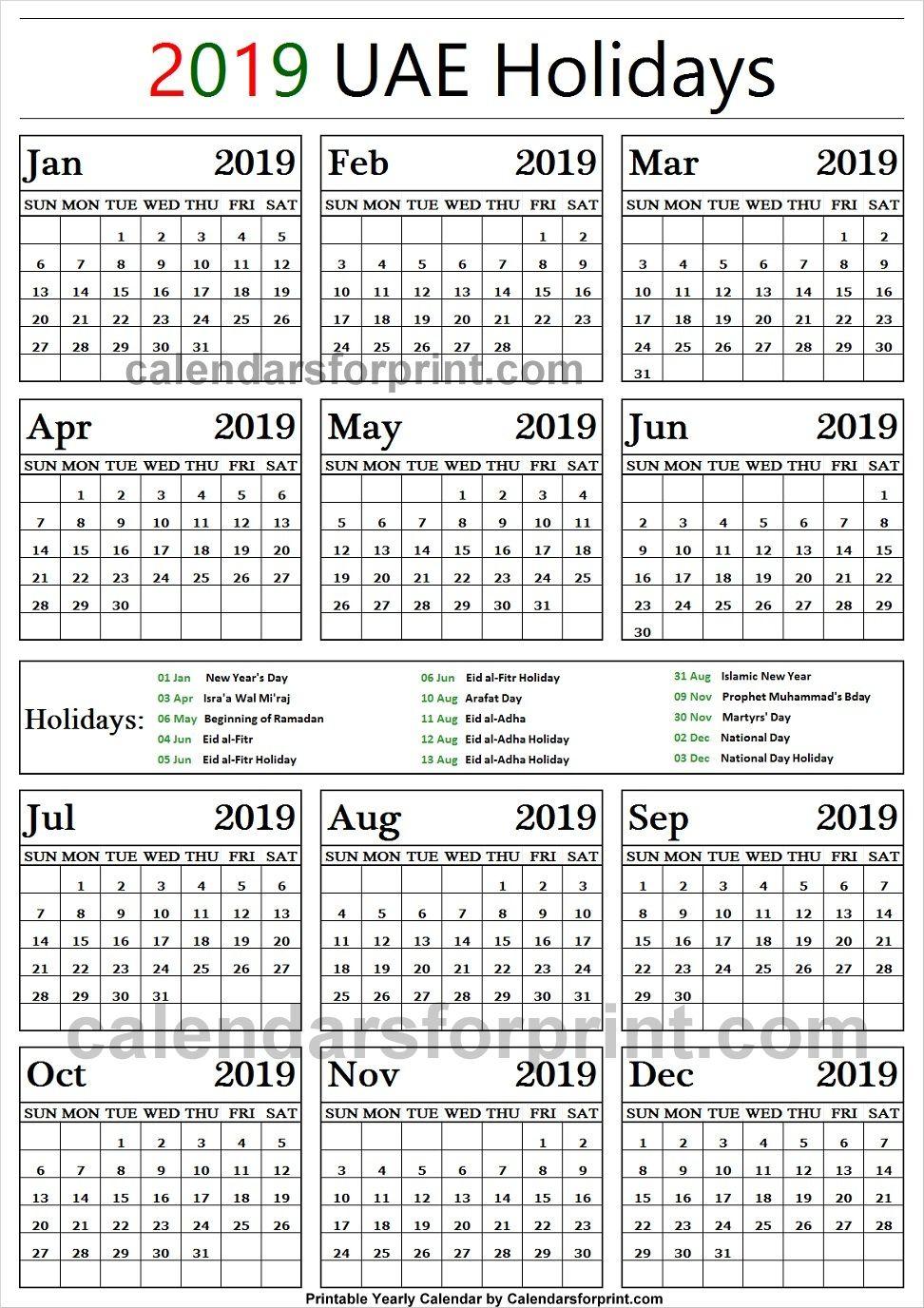 2019 Public Holidays United Arab Emirates Holiday Calendar Us