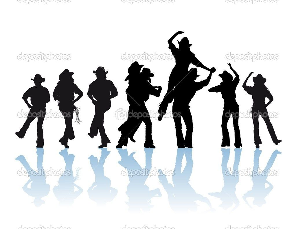 countrydancesilhouette cowboy man and girl dancer