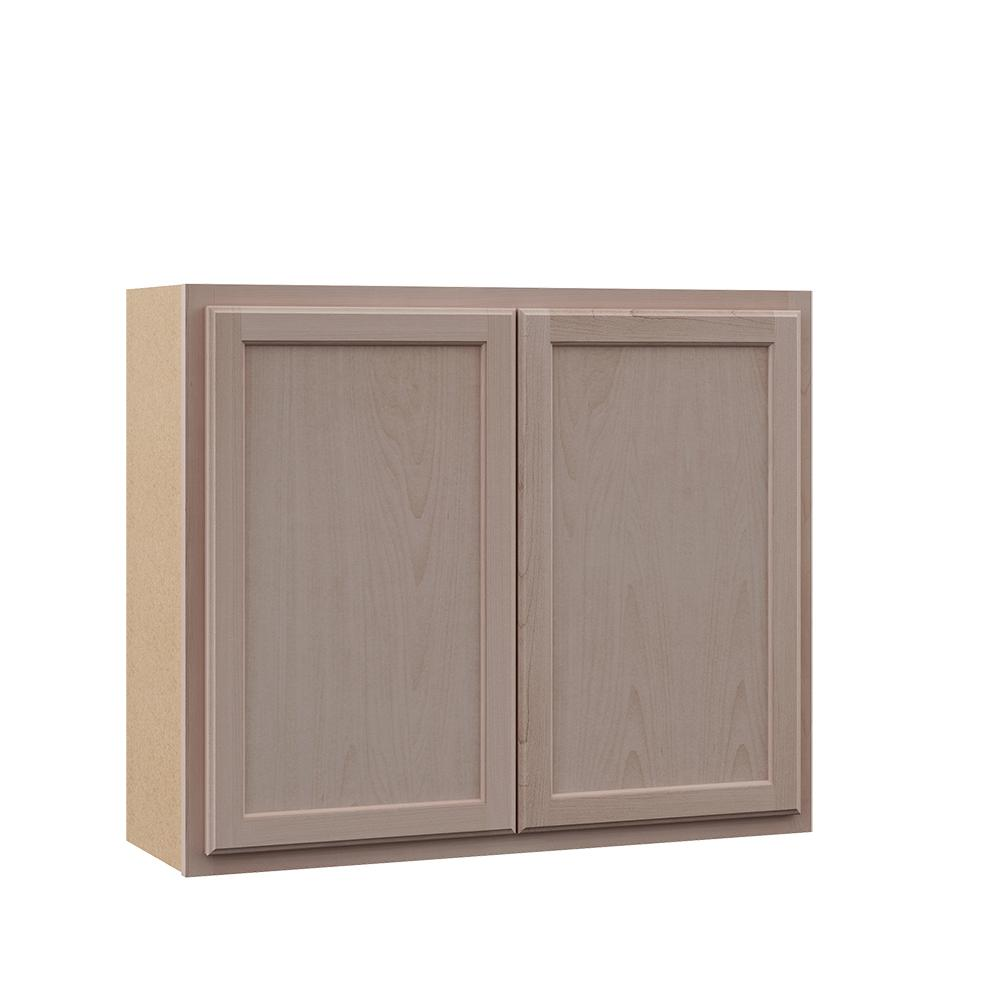 Hampton Bay Hampton Assembled 36x30x12 In Wall Kitchen Cabinet In Unfinished Beech Kw3630 Uf The Home Depot Wall Cabinet Wood Door Frame Unfinished Cabinets