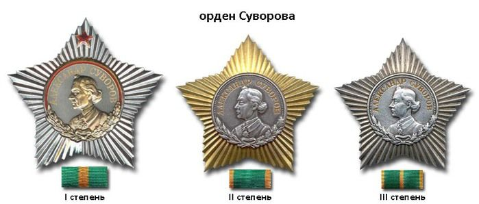 Soviet Union - Order of Suvorov (from left to right): 1st Class, 2nd Class, and 3rd Class.